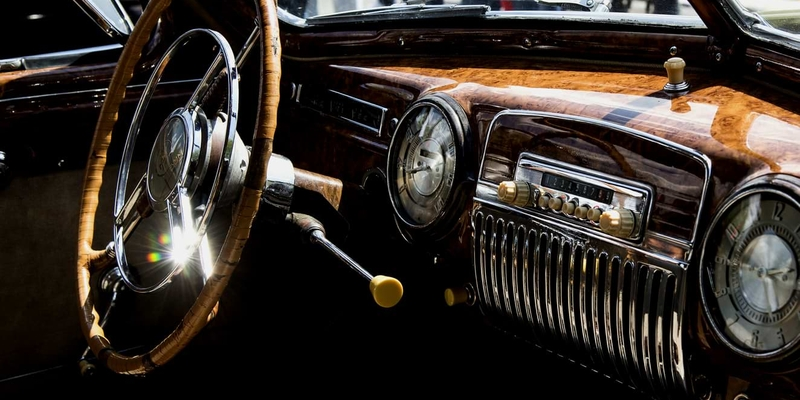 Beautiful interiors of a classic car during an exhibition of retro and vintage cars