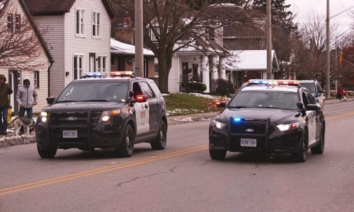 Two OPP vehicles drive down the road during a spot check
