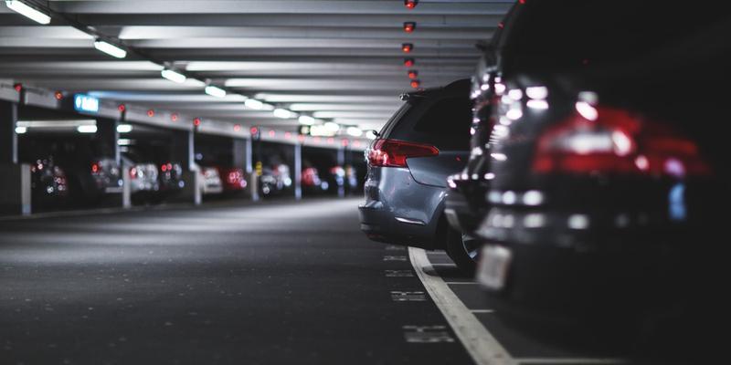 Cars parked in an underground parking garage