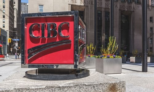 The CIBC logo on a marble slab outside the bank in Toronto