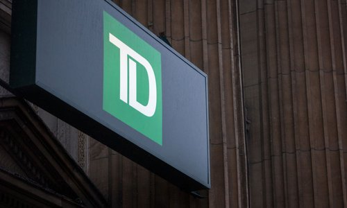 The TD bank logo on the outside of a branch