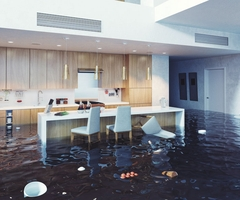 A kitchen is filled with water