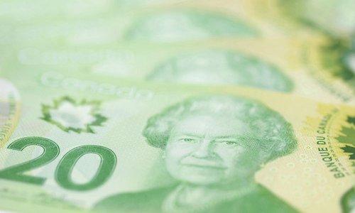 A close-up view of Canadian twenty-dollar bills