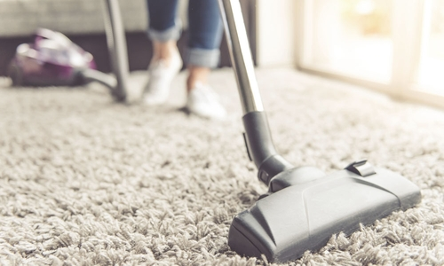 A close-up view of someone vacuuming a carpet
